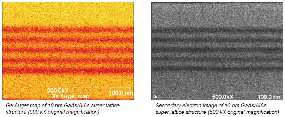 Fig. 4 (a) Ga Auger map of 10 nm GaAs/AlAs super lattice structure. (b) SEM image of 10 nm GaAs/AlAs super lattice structure